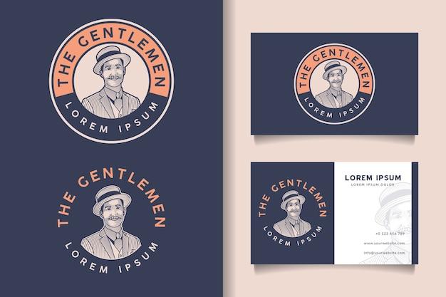 Modèle de logo et carte de visite vintage badge rétro homme barbu