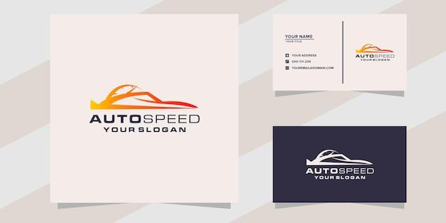 Modèle de logo et de carte de visite de voiture de vitesse automatique