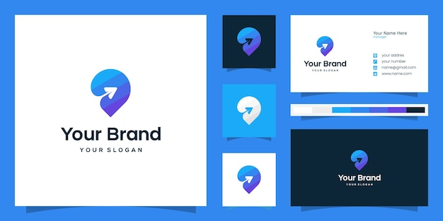 Modèle de logo et carte de visite de voyage coloré