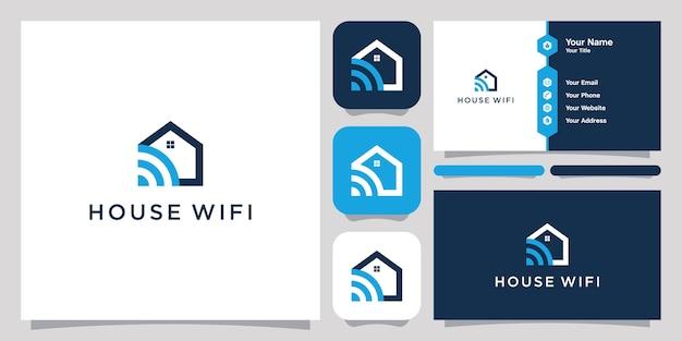 Modèle de logo et carte de visite wifi maison