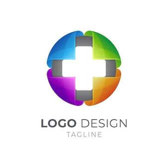 Modèle de logo de centre médical mondial