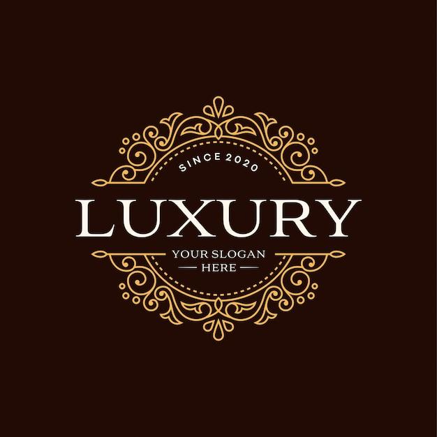 Modèle de logo de cercle de luxe héraldique floral en vecteur pour restaurant, royauté, boutique, café, hôtel, bijoux, mode et autres