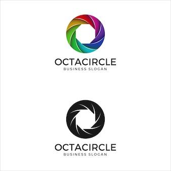 Modèle de logo cercle octa