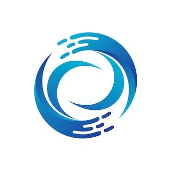 Modèle de logo de cercle d'onde