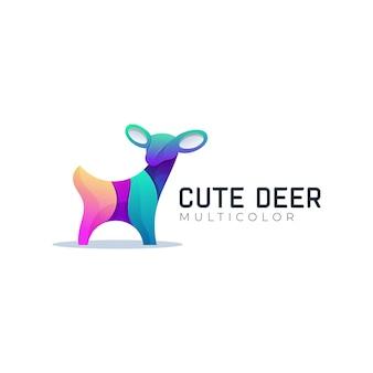 Modèle de logo de cerf mignon coloré dégradé moderne