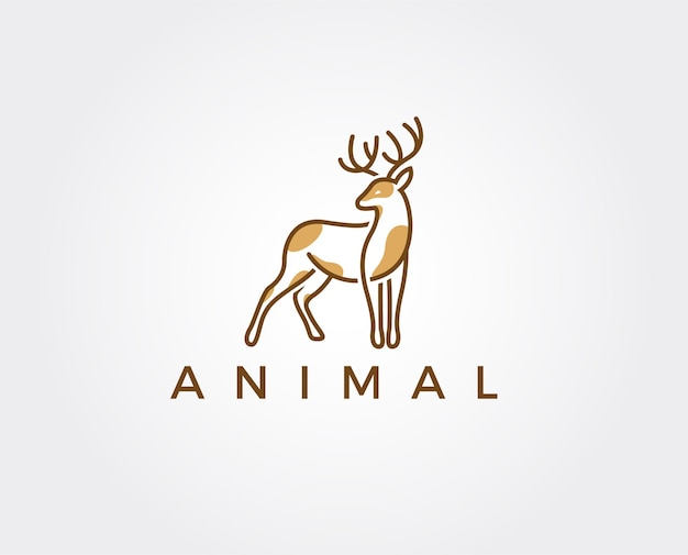 Modèle de logo de cerf minimal