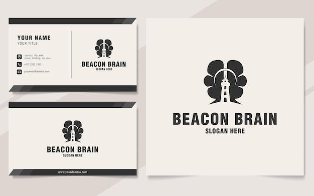 Modèle de logo de cerveau de balise sur le style monogramme