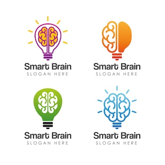 Modèle de logo de cerveau intelligent