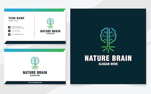 Modèle de logo de cerveau de nature sur le style moderne