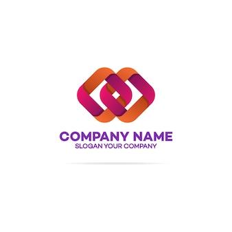 Modèle de logo de chaîne avec deux carrés sur blanc
