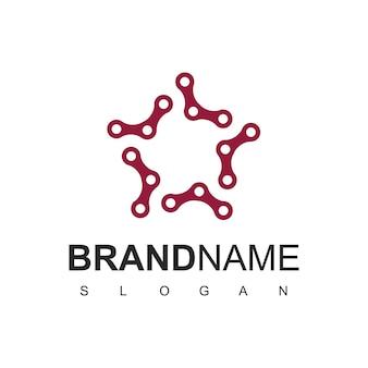 Modèle de logo de chaîne de vélo étoile