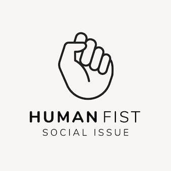 Modèle de logo de charité, vecteur de conception de marque à but non lucratif, texte de problème social de poing humain