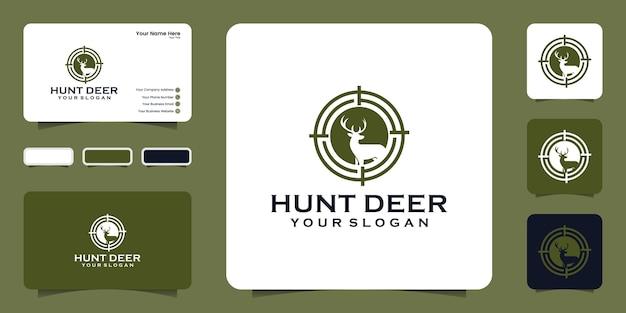 Modèle de logo de chasseur de cerfs et carte de visite