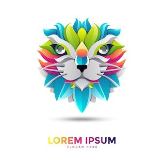 Modèle de logo de chat coloré