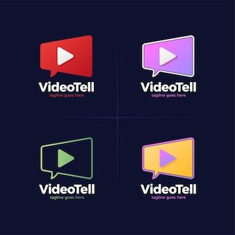 Modèle de logo de chat de film. caméra vidéo et bulle