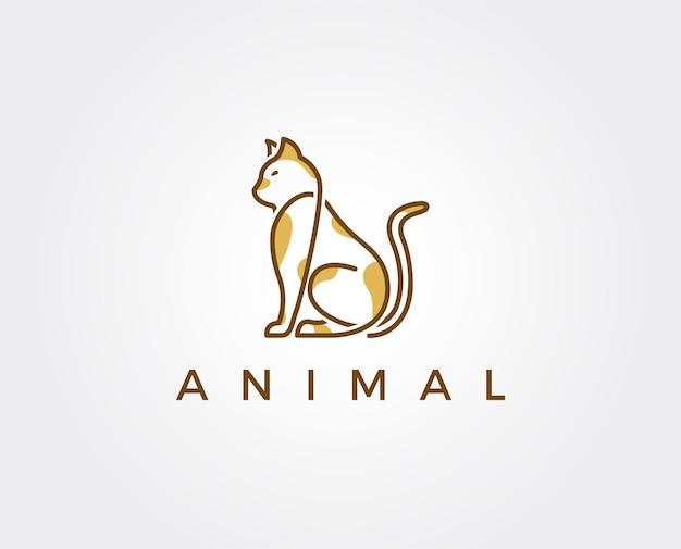 Modèle de logo de chat minimal