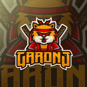 Modèle de logo de chat ninja