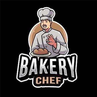 Modèle de logo de chef de boulangerie