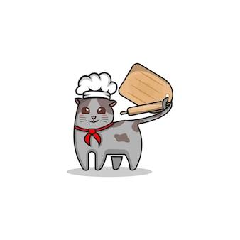 Modèle de logo de chef de chat