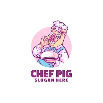 Modèle de logo de chef cochon