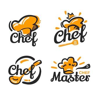 Modèle de logo de chef design plat