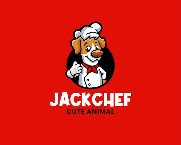 Modèle de logo de chef de dessin animé jack russell terrier