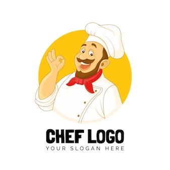 Modèle de logo de chef détaillé