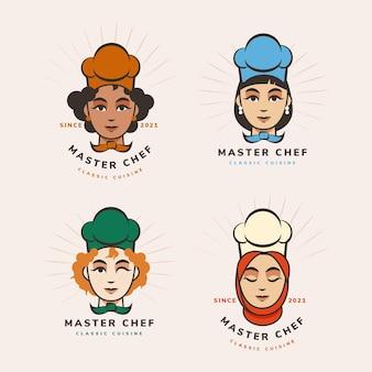 Modèle de logo de chef femme design plat