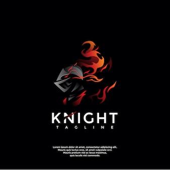 Modèle de logo de chevalier noir