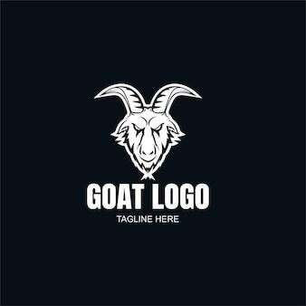Modèle de logo de chèvre noir et blanc