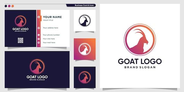 Modèle de logo de chèvre avec un style dégradé moderne vecteur premium