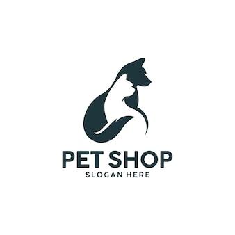 Modèle de logo chien et chat