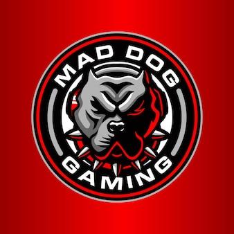 Modèle de logo de chien fou