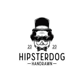 Modèle de logo de chien hipster