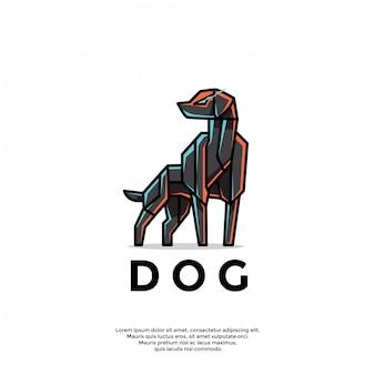 Modèle de logo de chien robotique unique