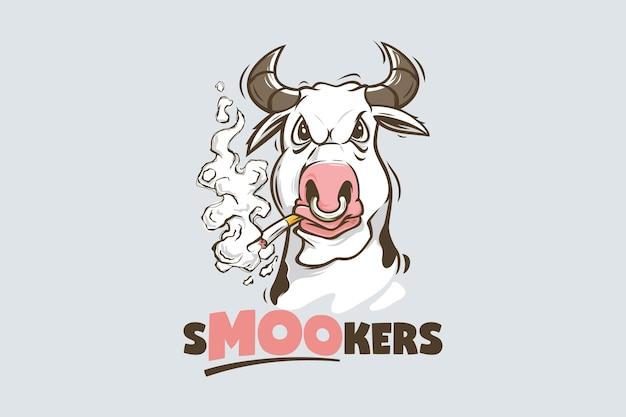 Modèle de logo de cigarette fumer drôle de vache