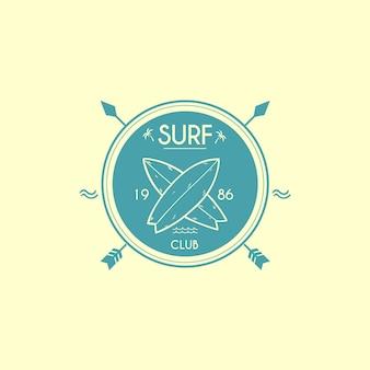 Modèle de logo de club de surf