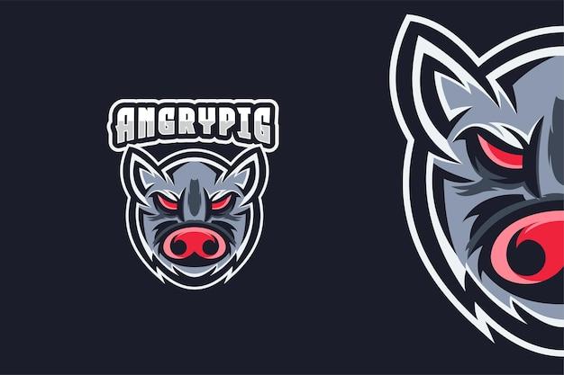 Modèle de logo de cochon en colère