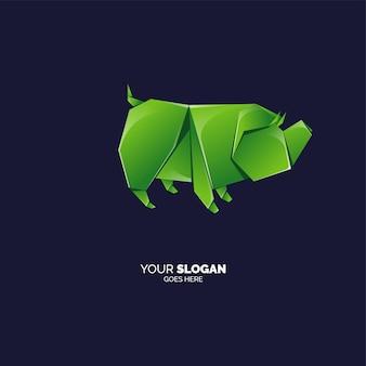 Modèle de logo cochon origami