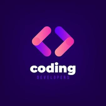 Modèle de logo de codage dégradé