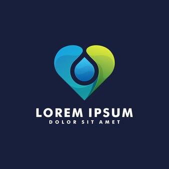 Modèle de logo coeur bleu et vert