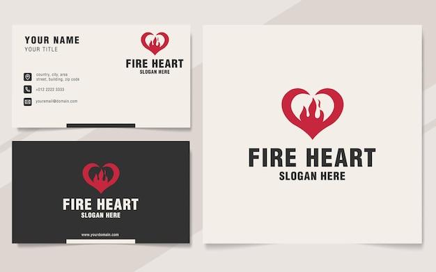 Modèle de logo de coeur de feu sur le style monogramme