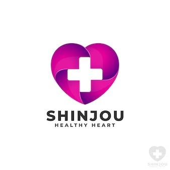 Modèle de logo de coeur de santé