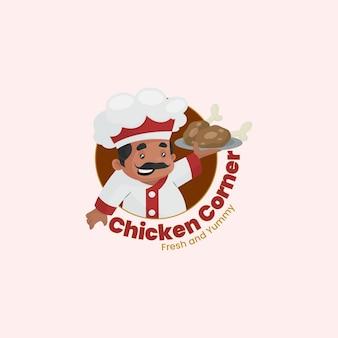 Modèle de logo de coin de poulet indien