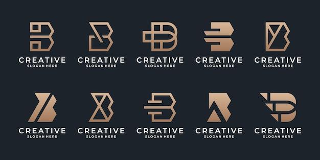 Modèle de logo de collection abstraite lettre b avec couleur dorée.