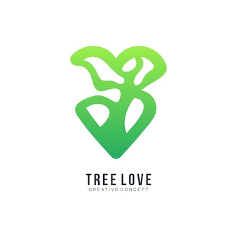 Modèle de logo coloré dégradé arbre amour