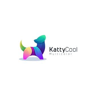Modèle de logo coloré dégradé chat katty