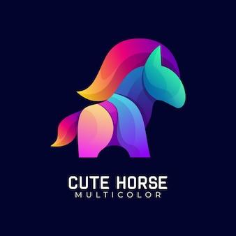 Modèle de logo coloré dégradé cheval mignon
