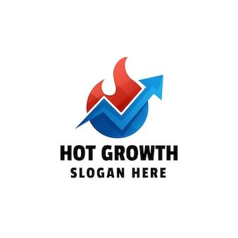 Modèle De Logo Coloré Dégradé De Croissance Chaude Vecteur Premium