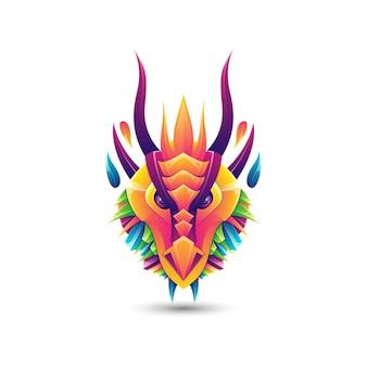 Modèle de logo coloré de dégradé de dragon